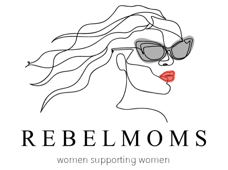 RebelMoms logo one line drawing woman with red lips wearing sunglasses